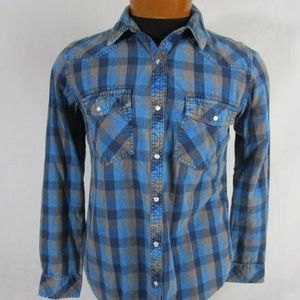 Earl Jeans L/S Plaid Pearl Snap Shirt
